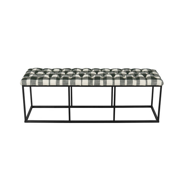 Black and White 52-Inch Hardwood and Plywood Bench, image 3