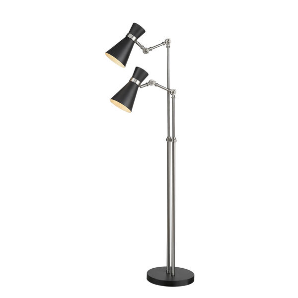 Soriano Matte Black and Brushed Nickel Two-Light Floor Lamp, image 5