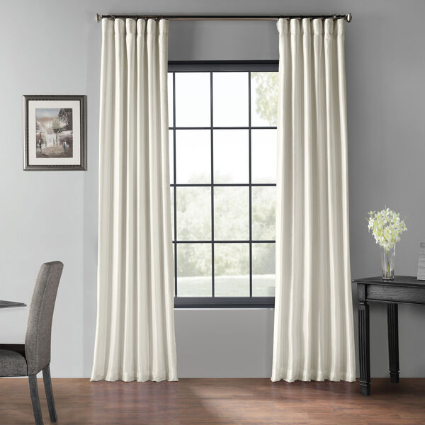 Off White 50 x 96-Inch Blackout Vintage Textured Faux Dupioni Silk Curtain, image 1