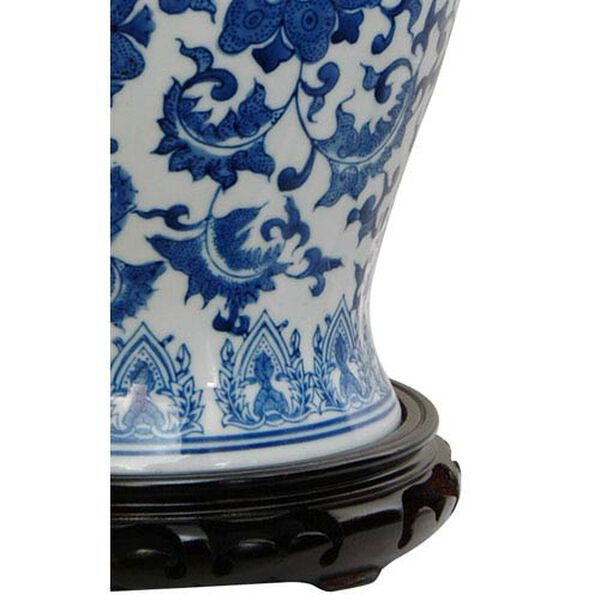 18 Inch Porcelain Temple Jar Blue and White Floral, Width - 10 Inches, image 2