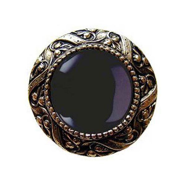 Brite Brass Victorian Jeweled Knob with Onyx Stone , image 1