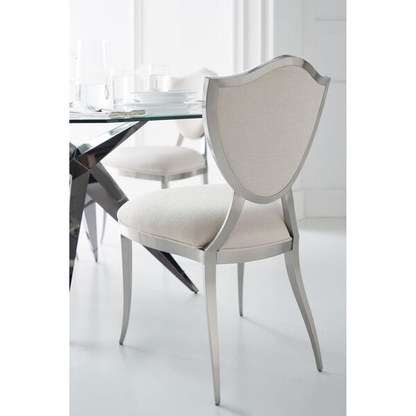 Caracole Classic Lightly Brushed Chrome and Beige Shield Me Chair, image 6