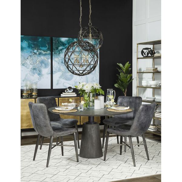 Horsdal Black Leather Seat Dining Chair, image 3