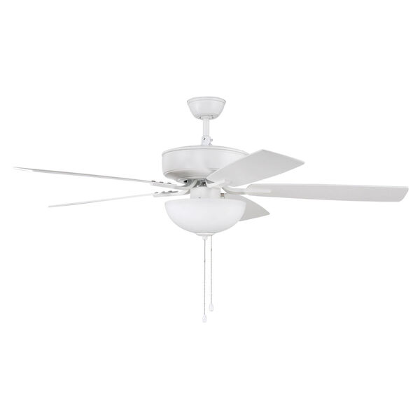 Pro Plus White 52-Inch Two-Light Ceiling Fan with White Frost Bowl Shade, image 1