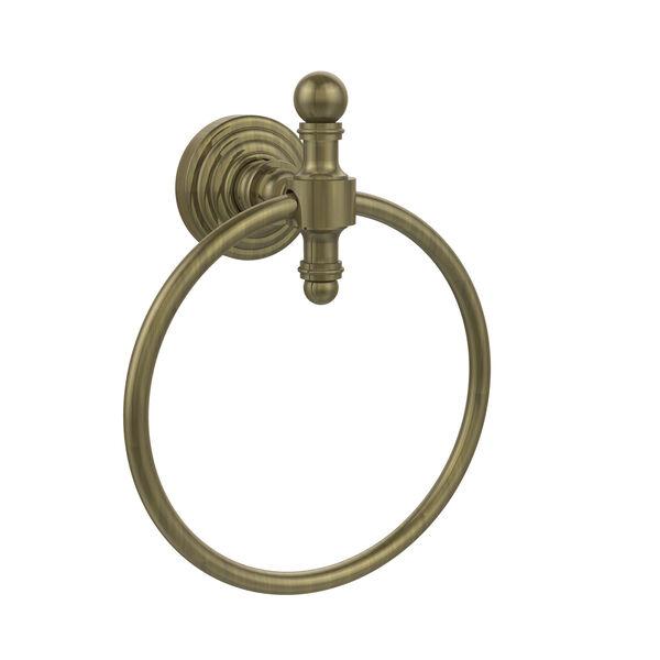 Retro-Wave Antique Brass Towel Ring, image 1