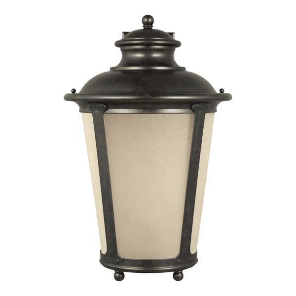 Cape May Burled Iron One-Light Outdoor Wall Sconce with Etched Hammered with Light Amber Shade, image 1
