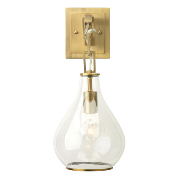 Clear Glass with Antique Brass One-Light Wall Sconce, image 1