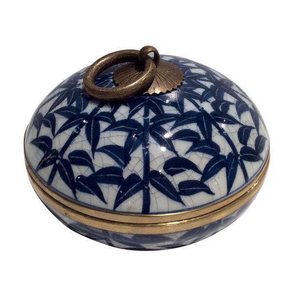 Blue White Gold Bamboo Convex Box, image 1
