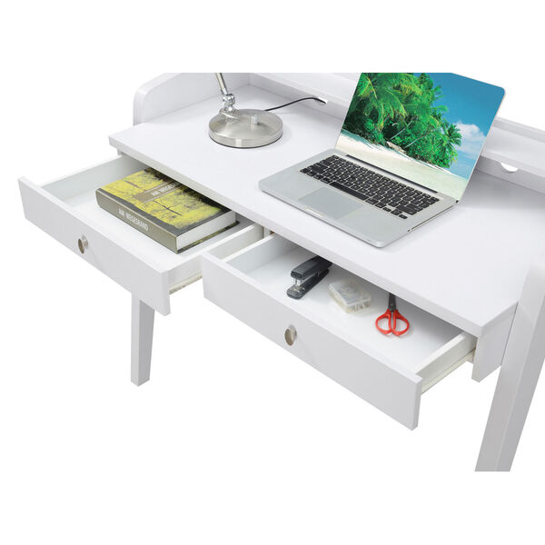 Newport White Deluxe Two-Drawer Desk, image 6
