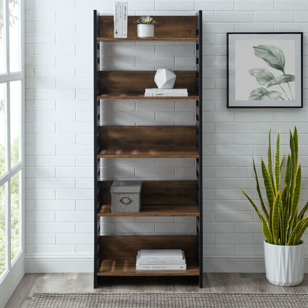 Howard Reclaimed Barnwood and Solid Black Five Self Bookcase, image 3