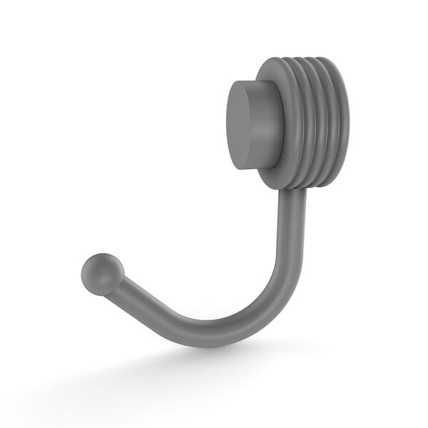 Venus Matte Gray Two-Inch Robe Hook with Groovy Accents, image 1