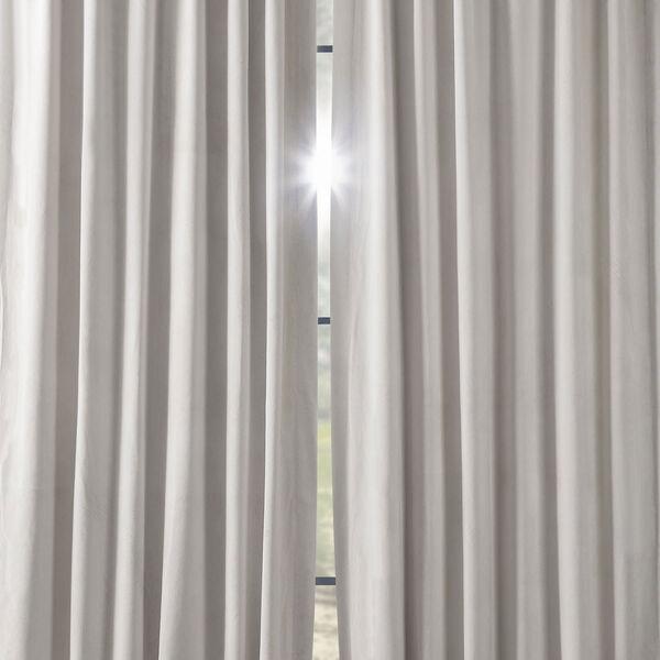 Porcelain White Blackout Velvet Pole Pocket Single Panel Curtain, 50 X 108, image 6