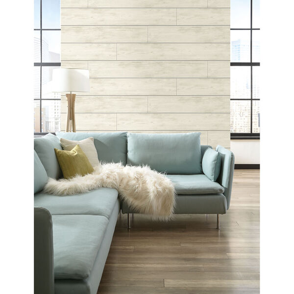 Shiplap Gray and Off White Removable Wallpaper, image 5