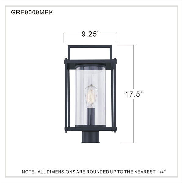 Garrett Matte Black One-Light Outdoor Post Lantern with Transparent Glass, image 5