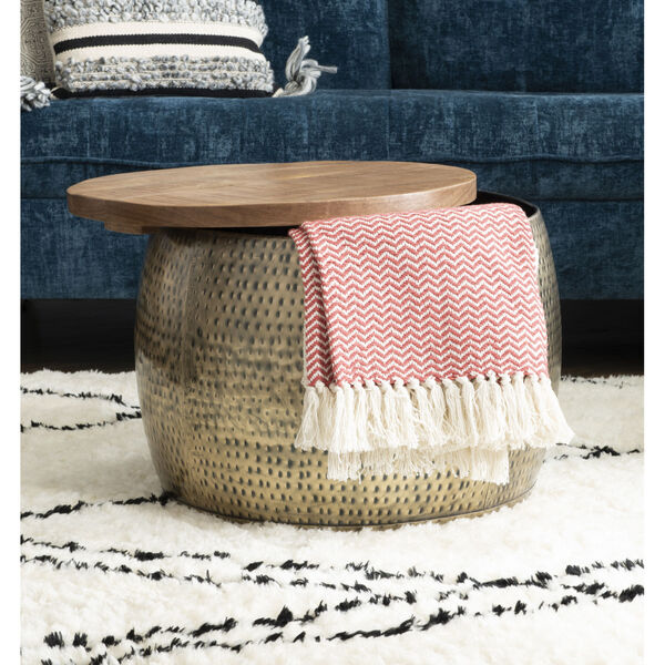 Leah Gold Drum with Storage Table, image 6