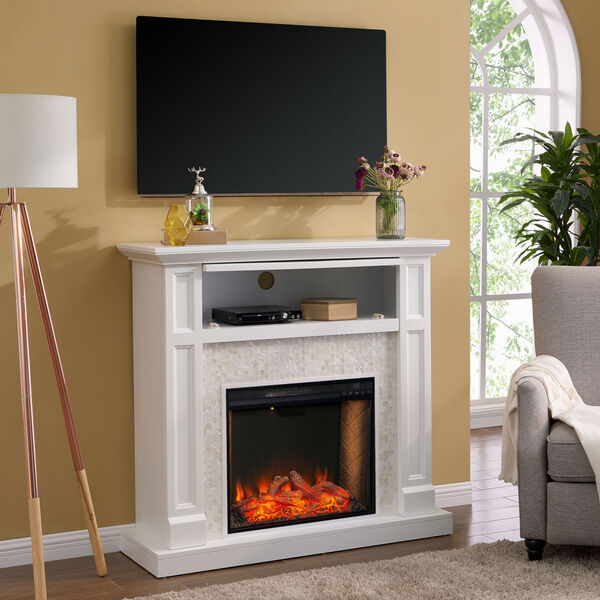 Nobleman White Smart Media Electric Fireplace with Tile Surround, image 4
