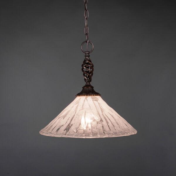Elegante Dark Granite One-Light Pendant with Italian Ice Glass Shade, image 1