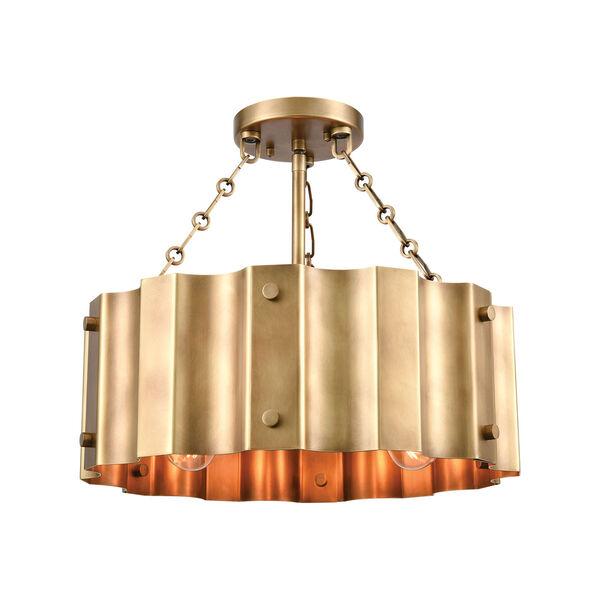 Clausten Natural Brass Three-Light Semi Flush Mount, image 1