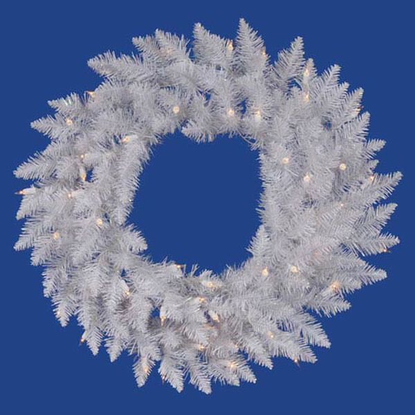 Sparkle White Spruce 24-Inch Wreath w/50 Pure White Wide Angle LED Lights and 110 Tips, image 1