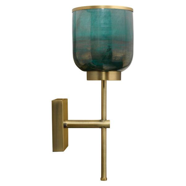 Vapor Antique Brass and Aqua Metallic Glass One-Light Wall Sconce, image 3