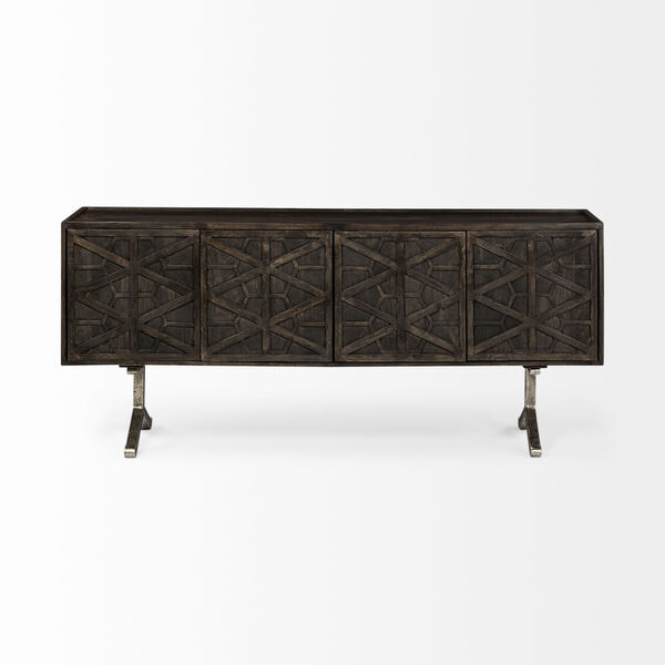 Hollandsworth Brown and Gold Solid Wood Four Door Cabinet Sideboard, image 2