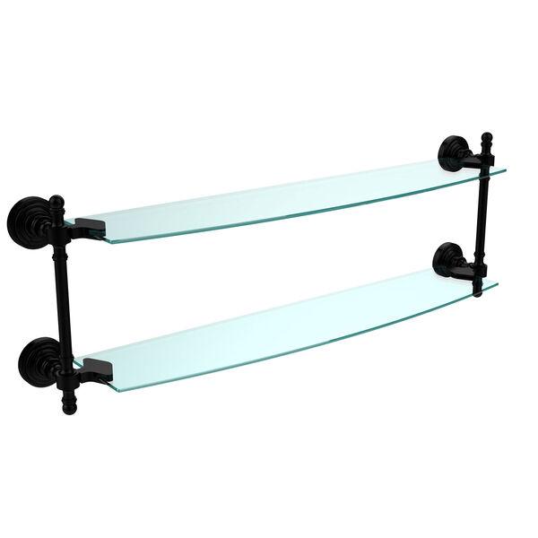 Retro Wave Matte Black 24 Inch x 5 Inch Double Glass Shelf, image 1