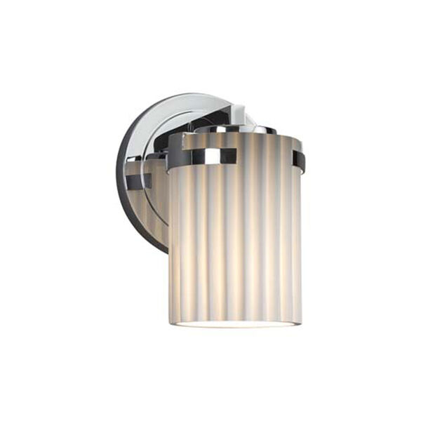 Limoges - Atlas Polished Chrome One-Light Wall Sconce with Cylinder Flat Rim Pleats Shade, image 1