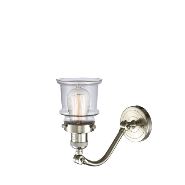 Franklin Restoration Brushed Satin Nickel 12-Inch LED Wall Sconce with Small Clear Canton Shade, image 2