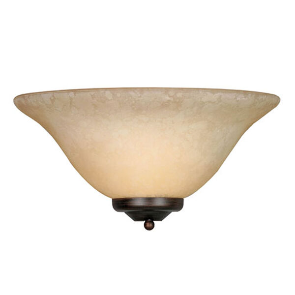 Wellington Rubbed Bronze One-Light Wall Sconce with Tea Stone Glass, image 1
