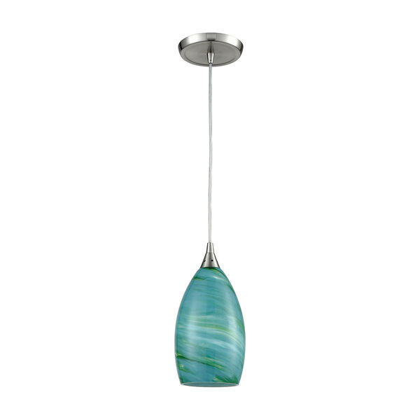 Collanino Satin Nickel Five-Inch One-Light Mini Pendant with Aqua Swirl Blown Glass, image 6