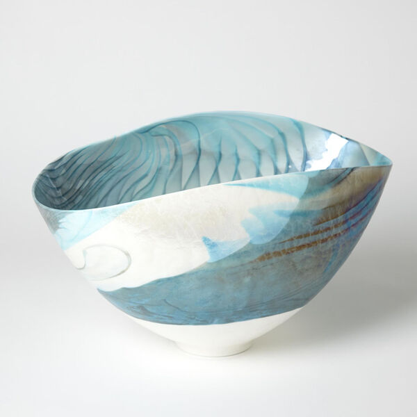 Ivory and Turquoise 12-Inch Feather Swirl Oval Bowl, image 1