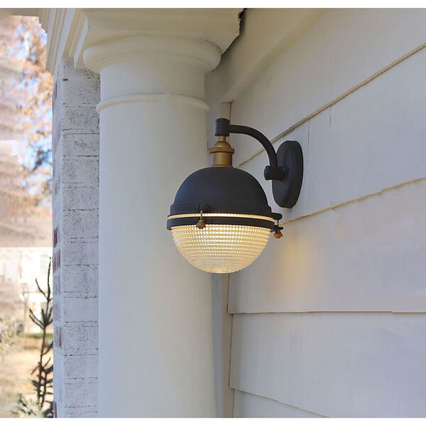 Portside Oil Rubbed Bronze and Antique Brass 10-Inch One-Light Outdoor Wall Mount, image 5