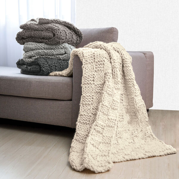 Chess Gray 50 In. X 60 In. Knit Throw, image 2