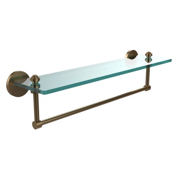 Southbeach Brushed Bronze 22x5 Glass Shelf w/ Towel Bar, image 1