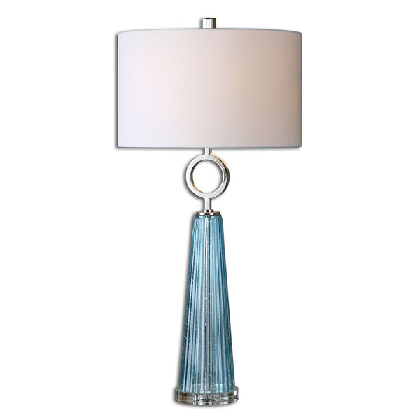 Navier Seeded Blue with Polished Nickel One Light Table Lamp with Blue Glass, image 3