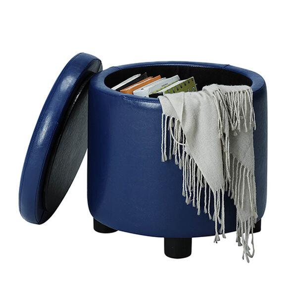 Designs4Comfort Blue Round Accent Storage Ottoman, image 2