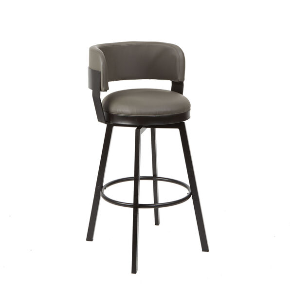 William Charcoal and Dark Rubbed Bronze Upholstered Swivel Barstool, image 6