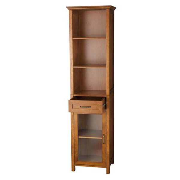 Avery Oak Linen Cabinet with One-Drawer and Three Open Shelves, image 2