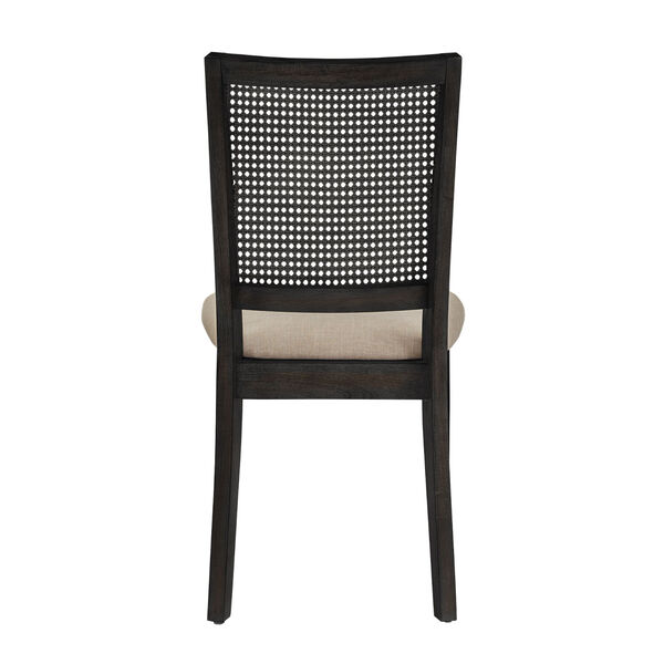 Caroline Beige and Black Rattan Back Dining Chair, Set of Two, image 4