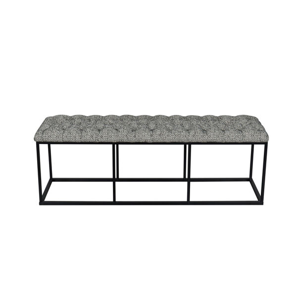 Black and White 52-Inch Fabric and Metal Bench, image 3