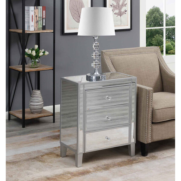 Gold Coast Large 3 Drawer Mirrored End Table in Silver, image 3