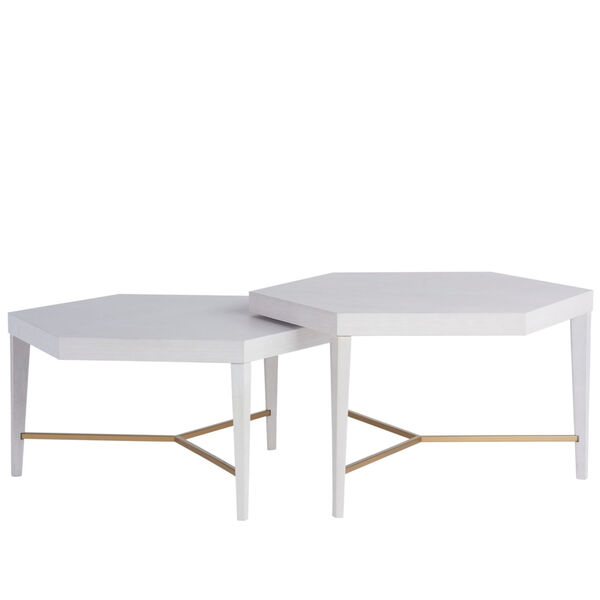 Miranda Kerr Sydney Alabaster and Soft Gold Bunching Cocktail Table, Set of 2, image 2