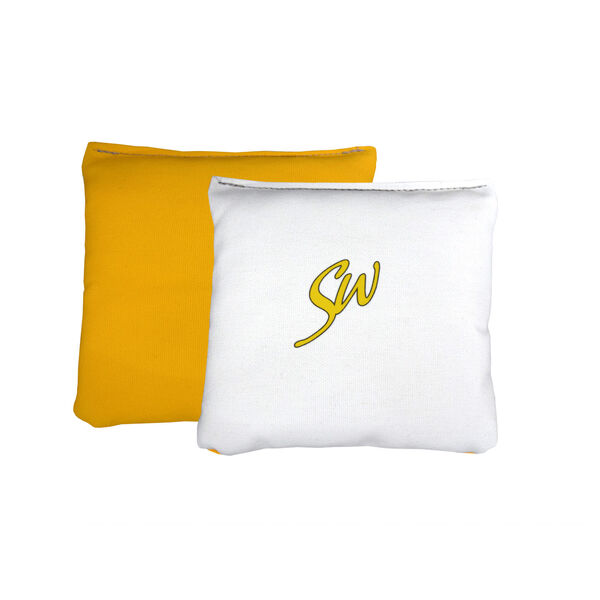Yellow and White All Weather Light Up Cornhole Bags, image 1