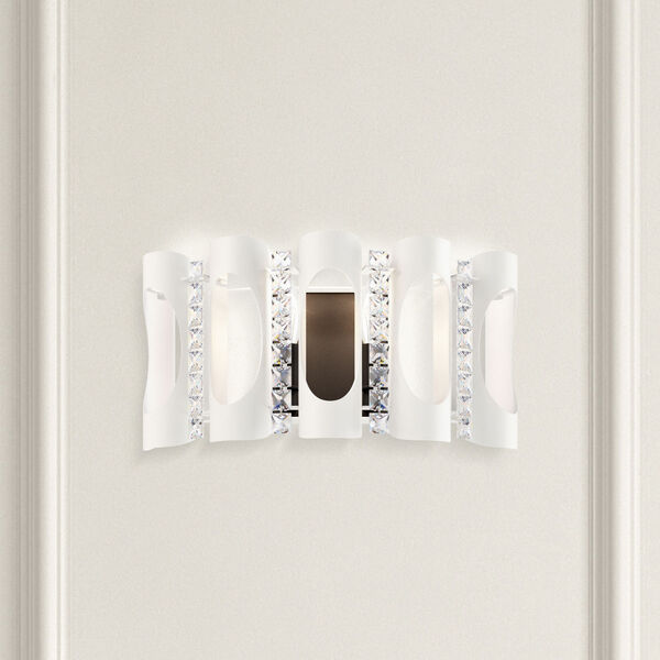 Twilight White Two-Light Wall Sconce with Clear Heritage Crystal, image 2