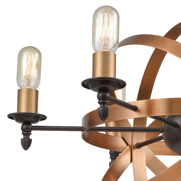 Kingston Oil Rubbed Bronze and Brushed Antique Brass Six-Light Chandelier, image 2