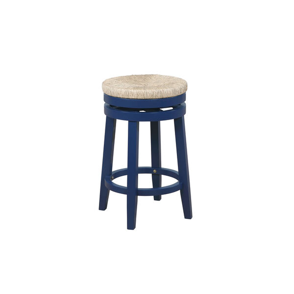 Ellie Navy Blue and Natural 25-Inch Swivel Counter Stool, image 2