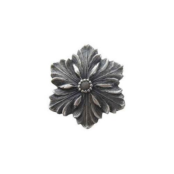 Antique Pewter Opulent Flower Knob, image 1