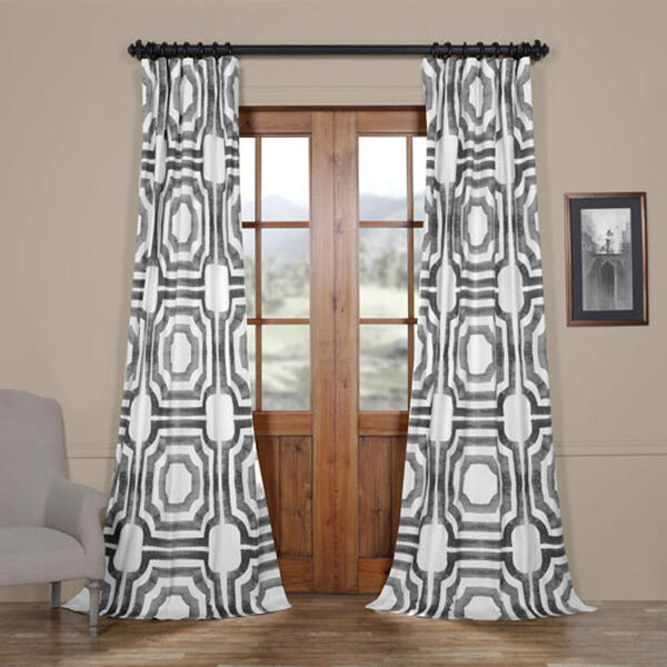 Shiny Steel 96 x 50 In. Printed Cotton Twill Curtain Single Panel, image 1