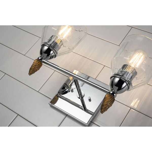 Fun Finial Silver Two-Light Wall Sconce, image 2