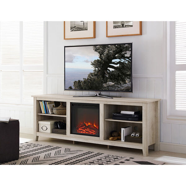 70-Inch Wood Media TV Stand Console with Fireplace - White Oak, image 1